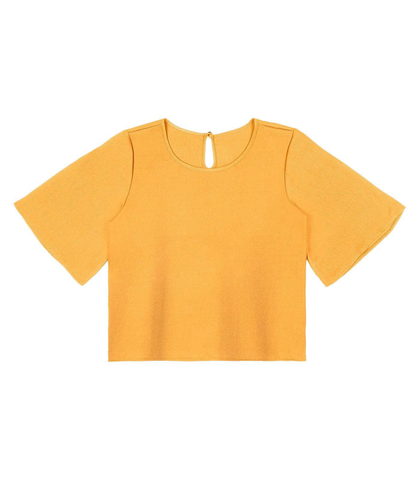 Blusa-Feminina-de-Crepe-Rovitex-Amarelo