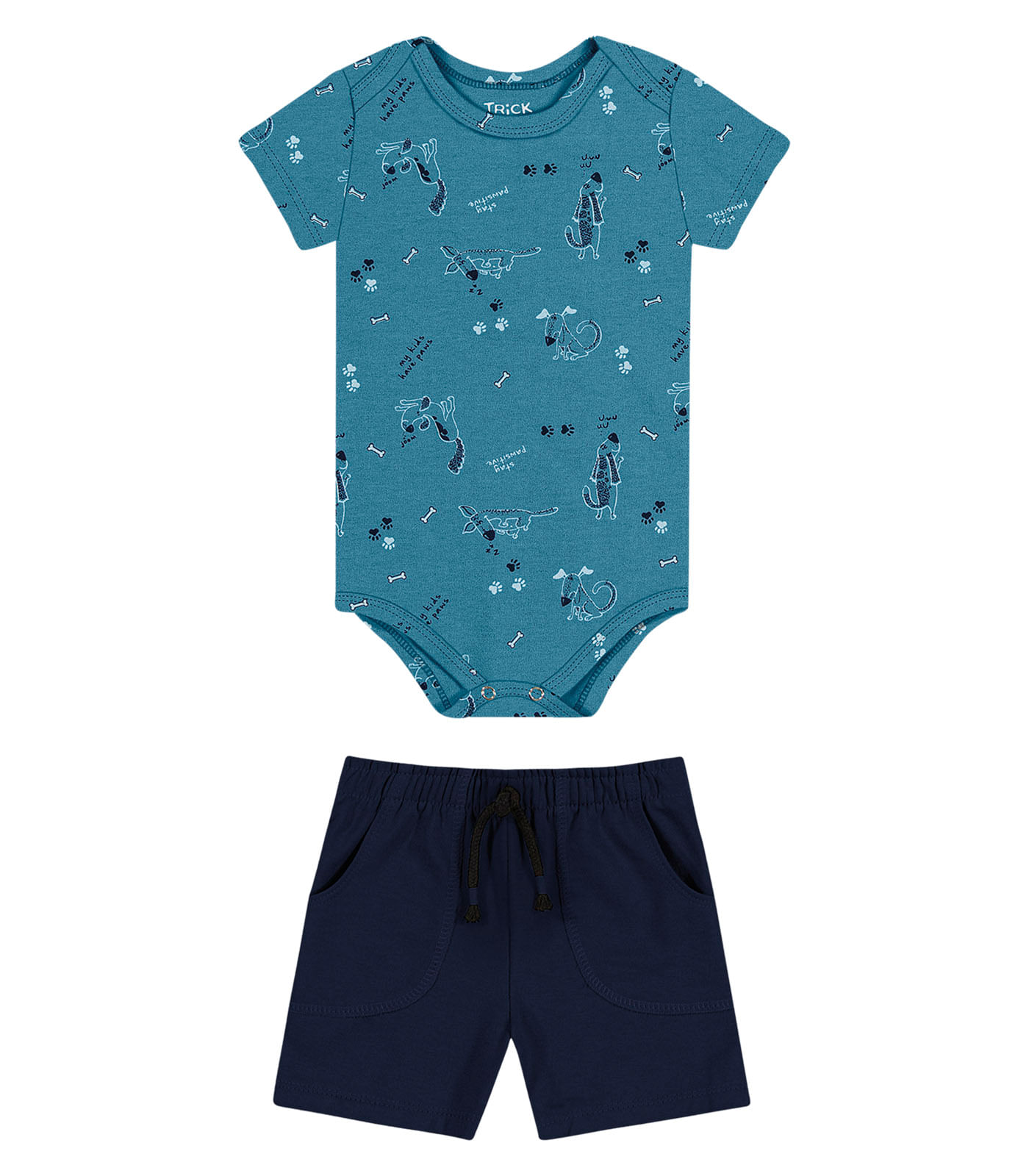 Conjunto masculino Body com Shorts Trick Nick Azul